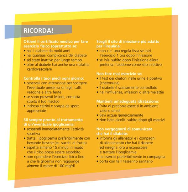 tabella sul diabete e sulla cura di esso