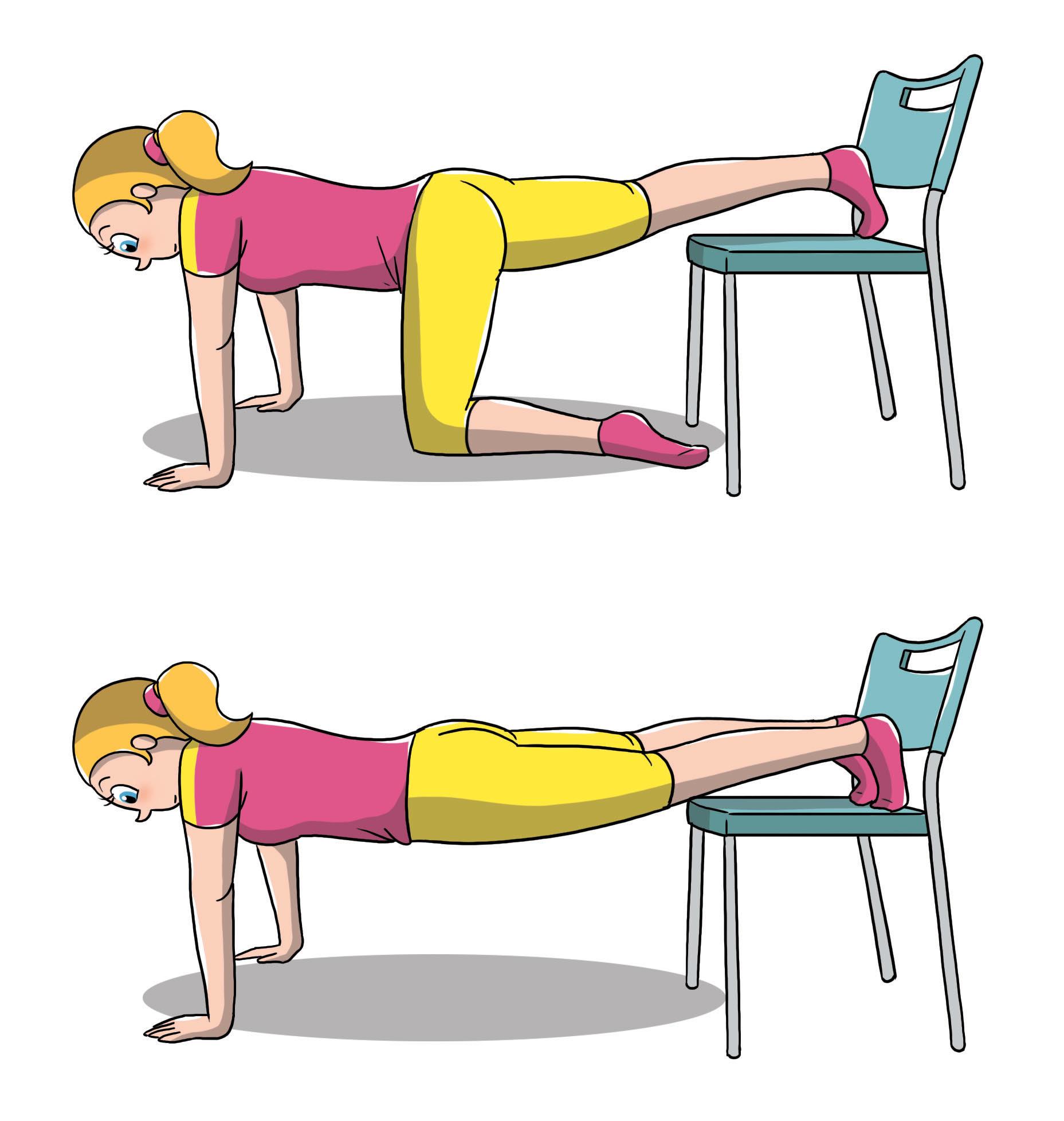 esercizi sedia per addominali: le flessioni