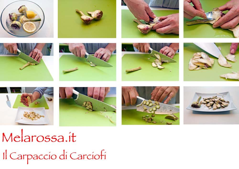 carpaccio di carciofi step by step