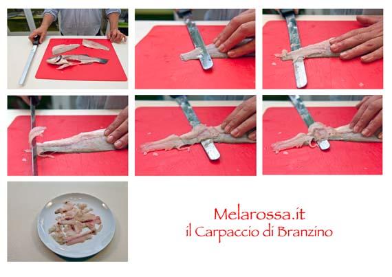 ricetta carpaccio di branzino step by step