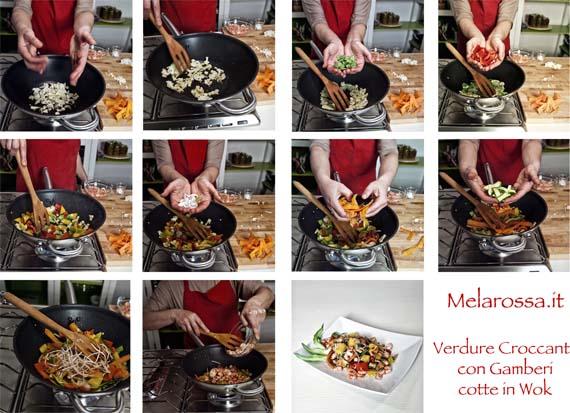 ricetta gamberi e verdure con wok step by step