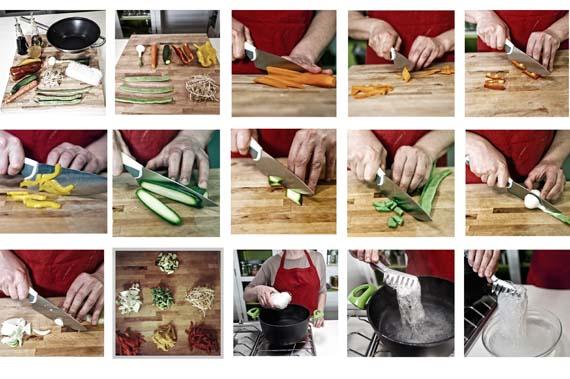 preparazione delle verdure per gli spaghetti di soia