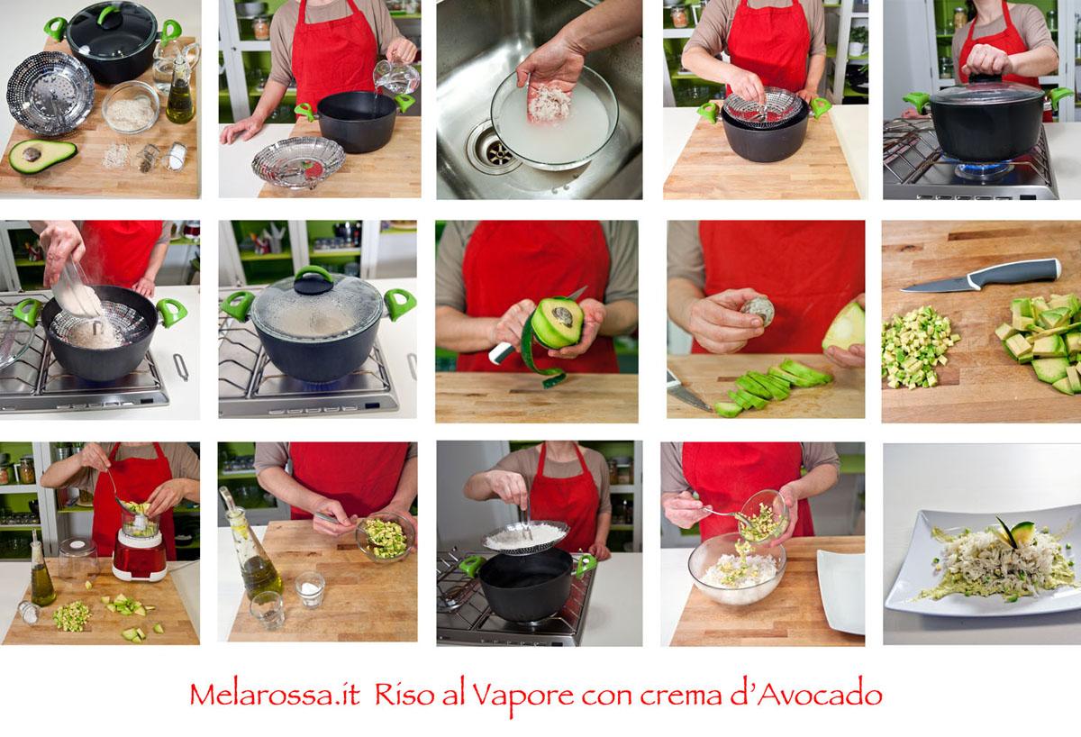 ricetta riso al vapore con avocado step by step