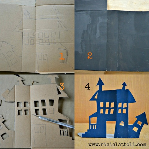 Il collage per fare la casea dei fantasmi di halloween per i tuoi bimbi
