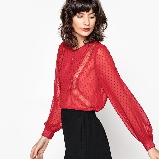vestiti da donna rossi Camicetta plumetis, maniche a sbuffo La Redoute
