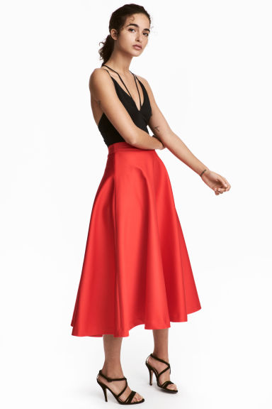 vestiti da donna rossi gonna in satin h&m