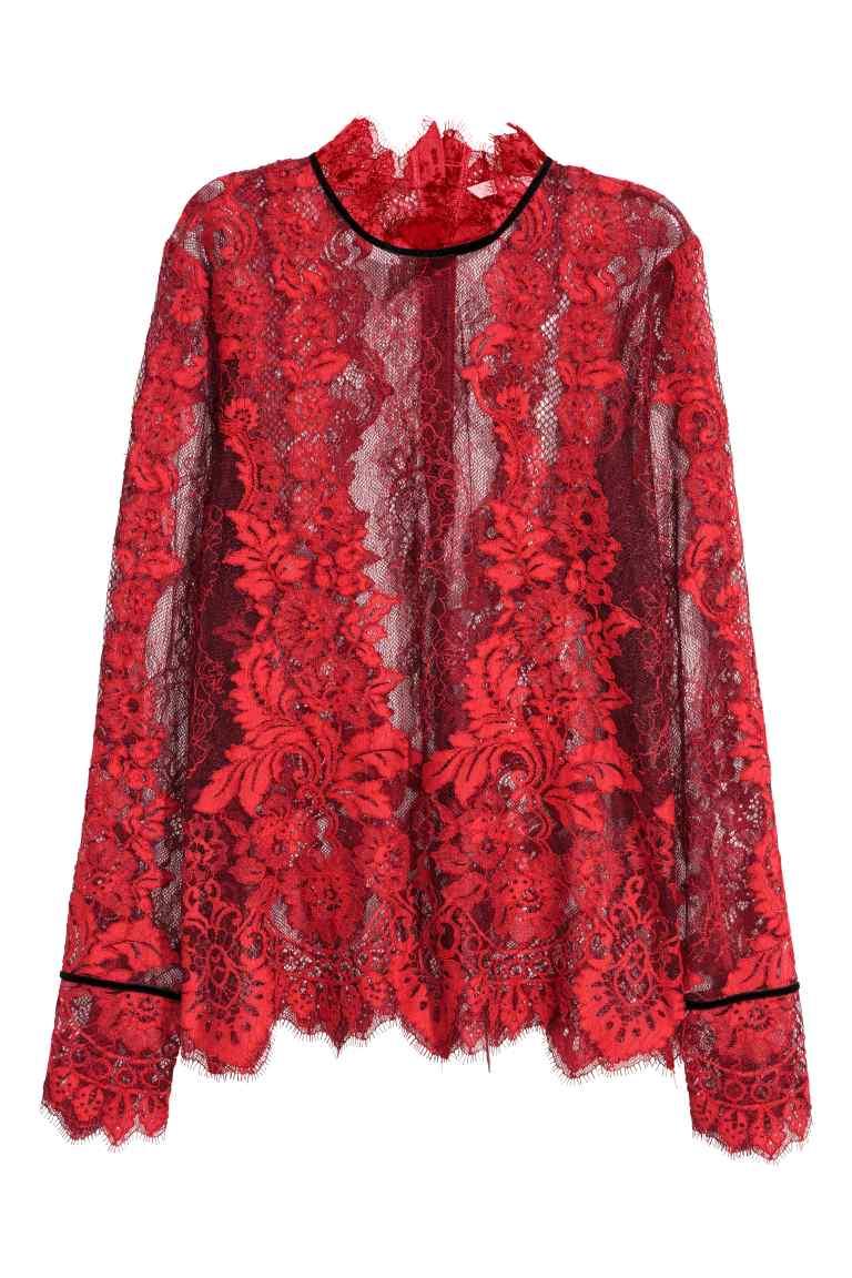 vestiti rossi per natale 2017 camicetta in pizzo h&m