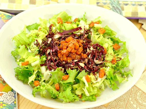 ricetta insalata di indivia riccia radicchio rosso e semini