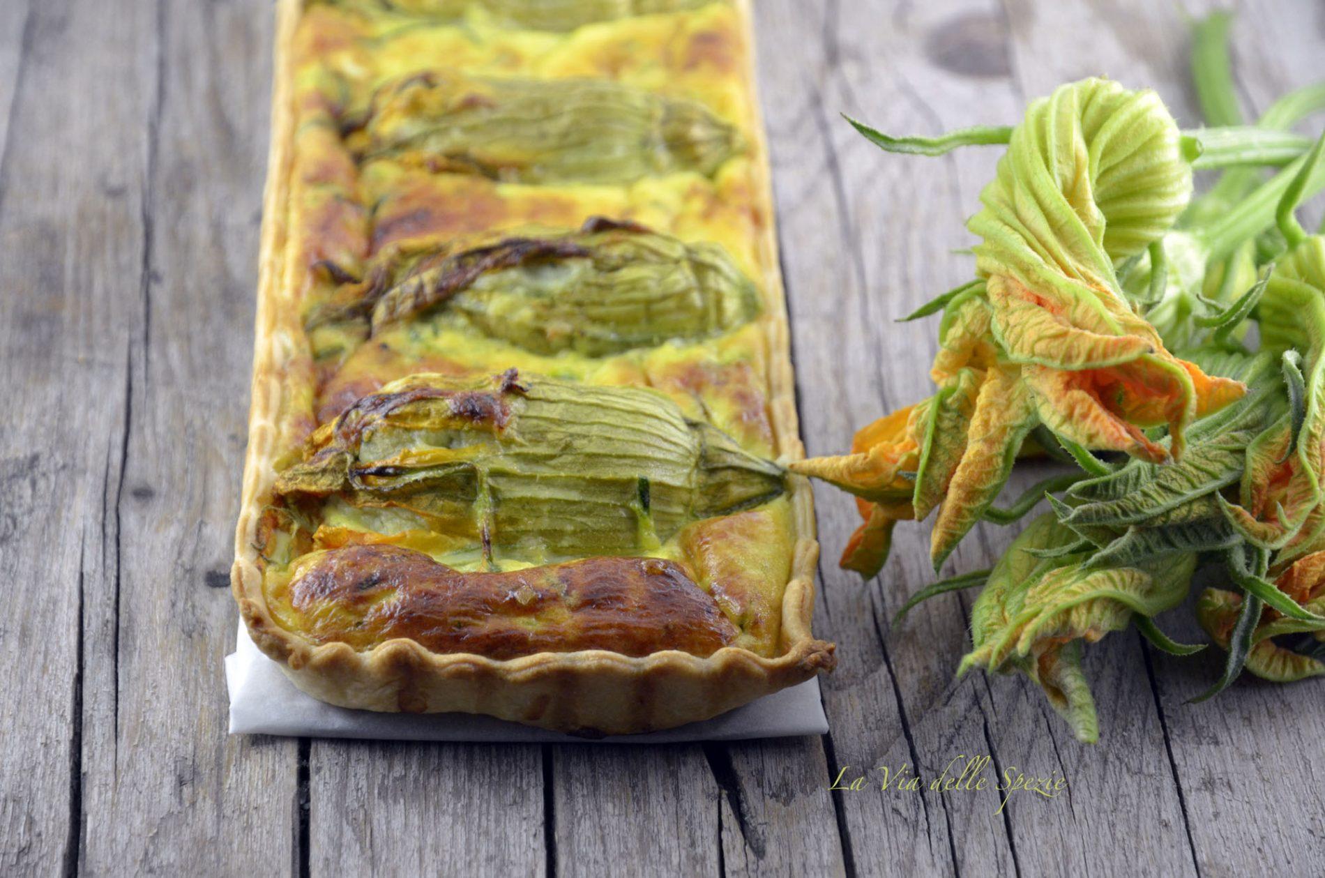 torte salate: quiche con zucchine e fiori di zucca ripieni