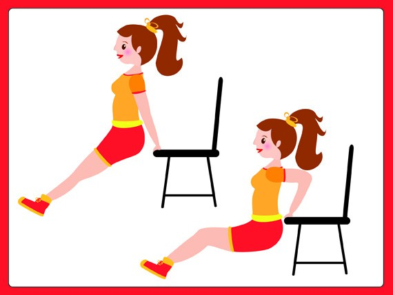 Dimagrire con lo sport: Triceps dip on chair