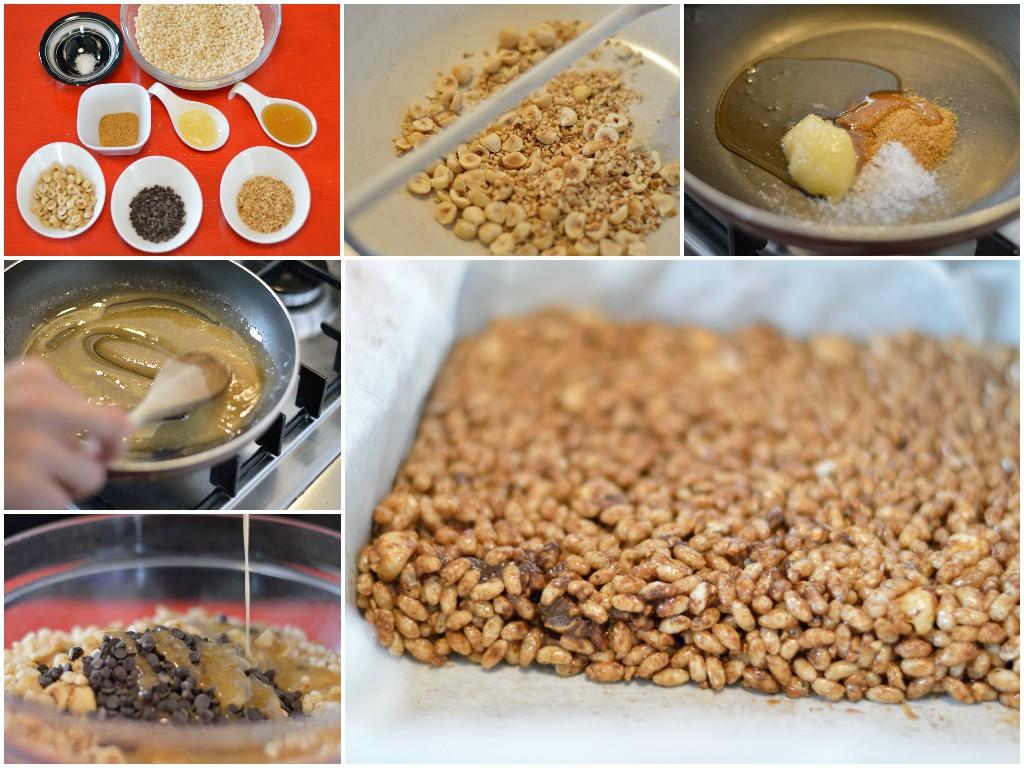 barrette-riso-soffiato-nocciole-cioccolato-preparazione