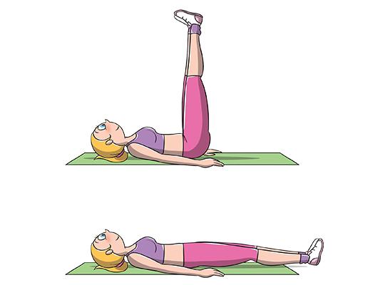 esercizi addominali: Crunch gambe tese