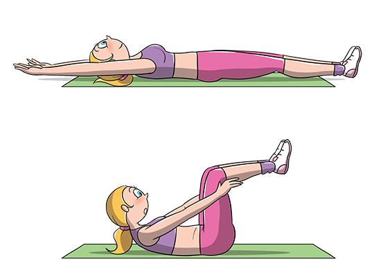 esercizi addominali: crunch ginocchia al petto