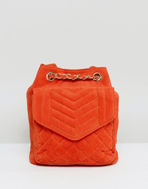 Glamorous - Zaino in velluto trapuntato arancione bruciato