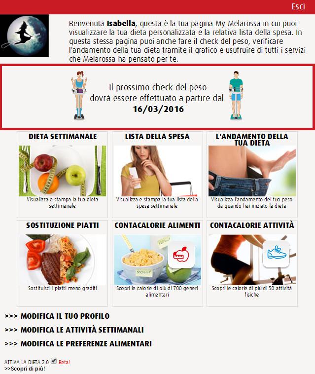 La guida per gestire la propria dieta dalla pagina Mymelarossa