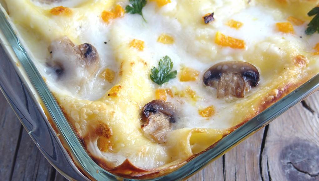 ricetta lasagne alla zucca e funghi
