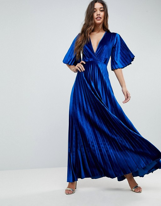 ASOS - Vestito lungo a pieghe stile kimono in velluto