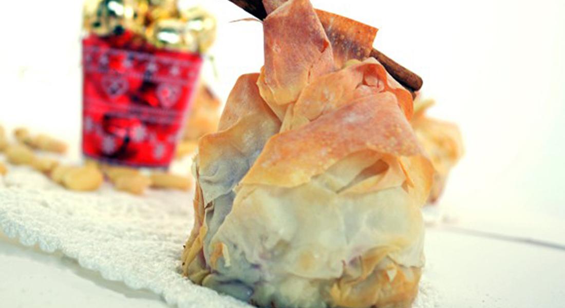 la ricetta per preparare i censtini di pasta fillo con mele,mandorle e cannella