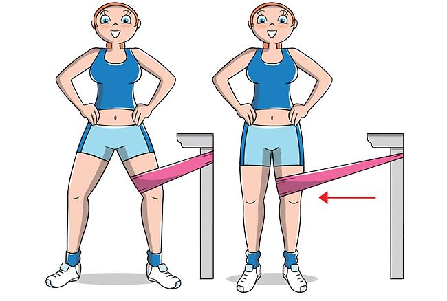 Esercizio per interno coscia con elastico
