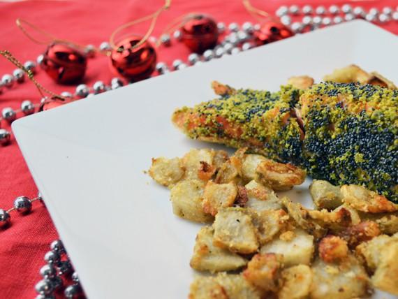la ricetta per preparare il salmone con farina di pistacchi e semi di papavero con topinambur