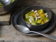 la zuppa di zucca, cavolini di bruxelles e mandorle