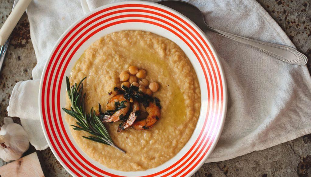 I legumi: ricetta vellutata ceci e gamberi
