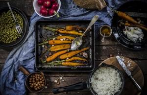carote arrostite con miele e timo