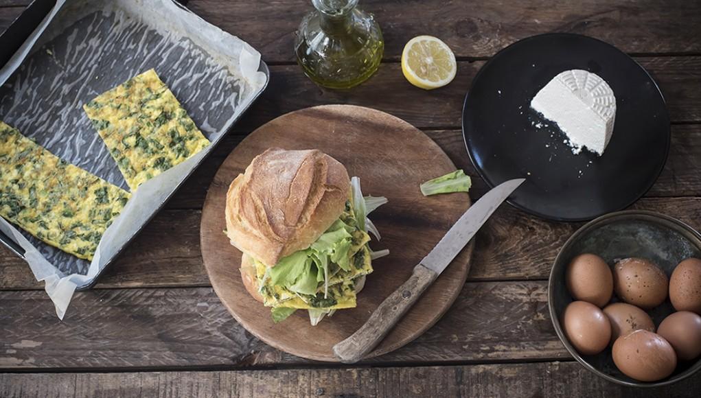 ricetta finale, panino con frittata di erbette al forno