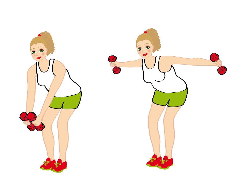 alzate laterali con manubrio - esercizio per smaltire i rotolini della schiena