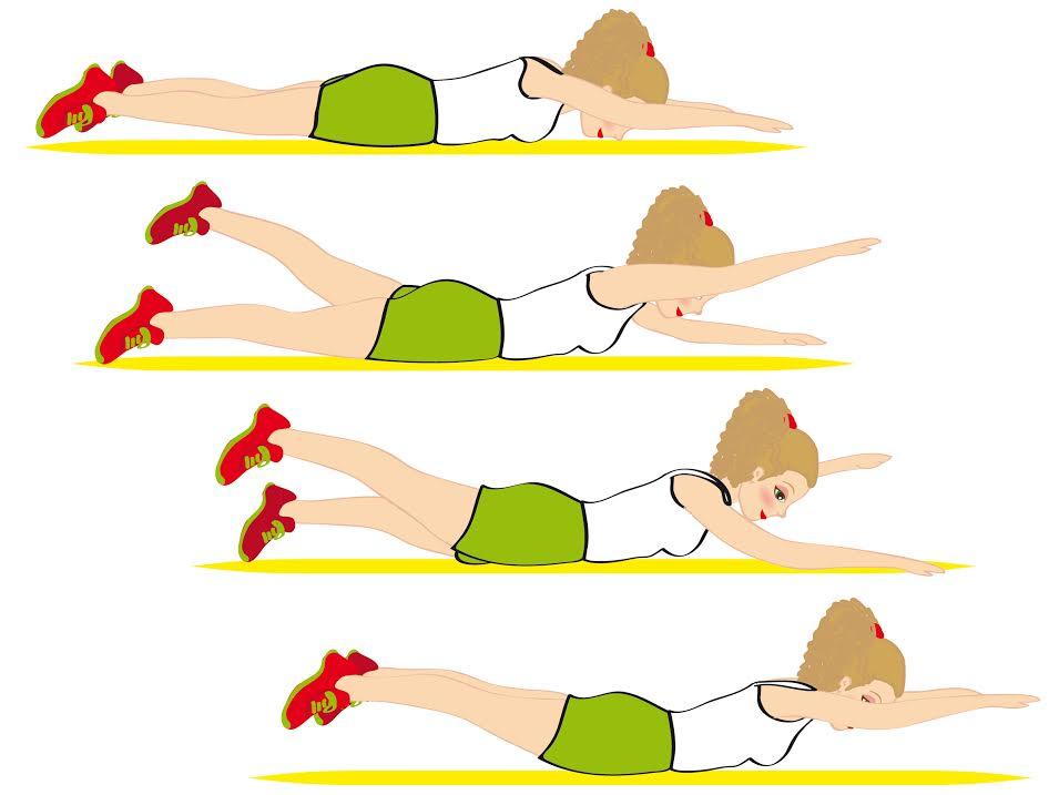 sequenza per smaltire i rotolini sulla schiena