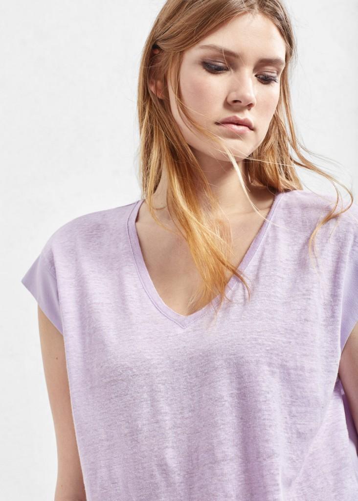 Maglietta lino rotolini schiena Violeta by Mango