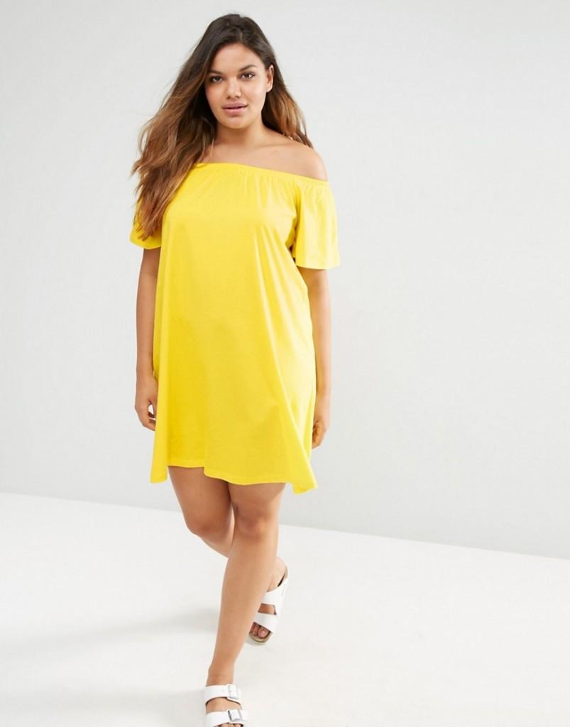 Vestito rotolini schiena Asos giallo