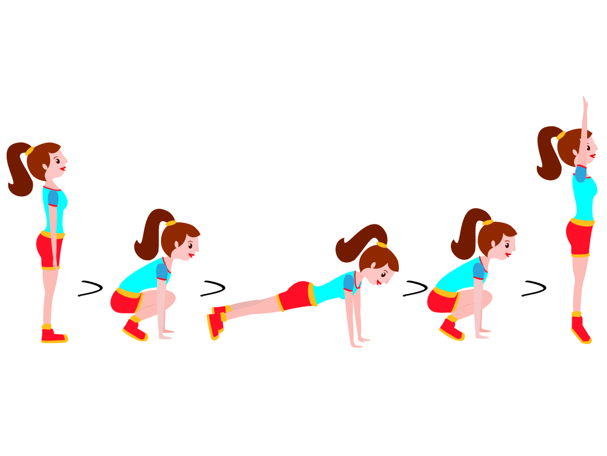 Allenamento a circuito esercizio burpee