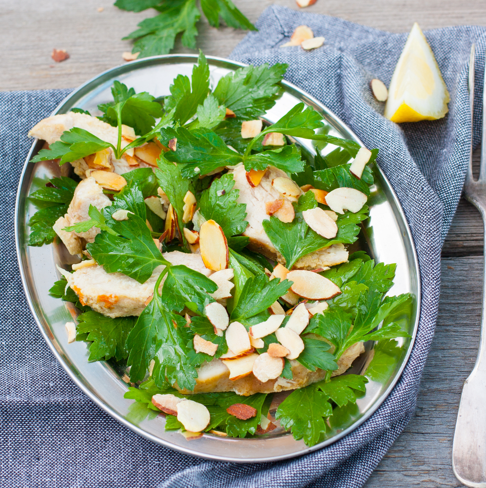 ricetta del pollo alle mandorle con verdura