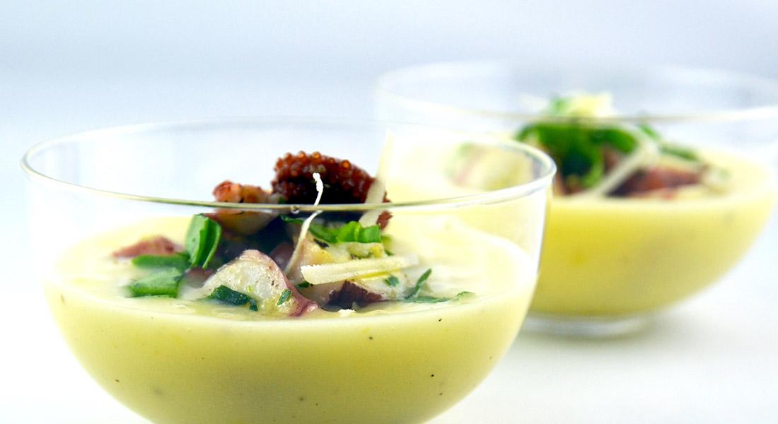 Insalata di polpo con crema di patate per la tua alimentazione ricca di potassio