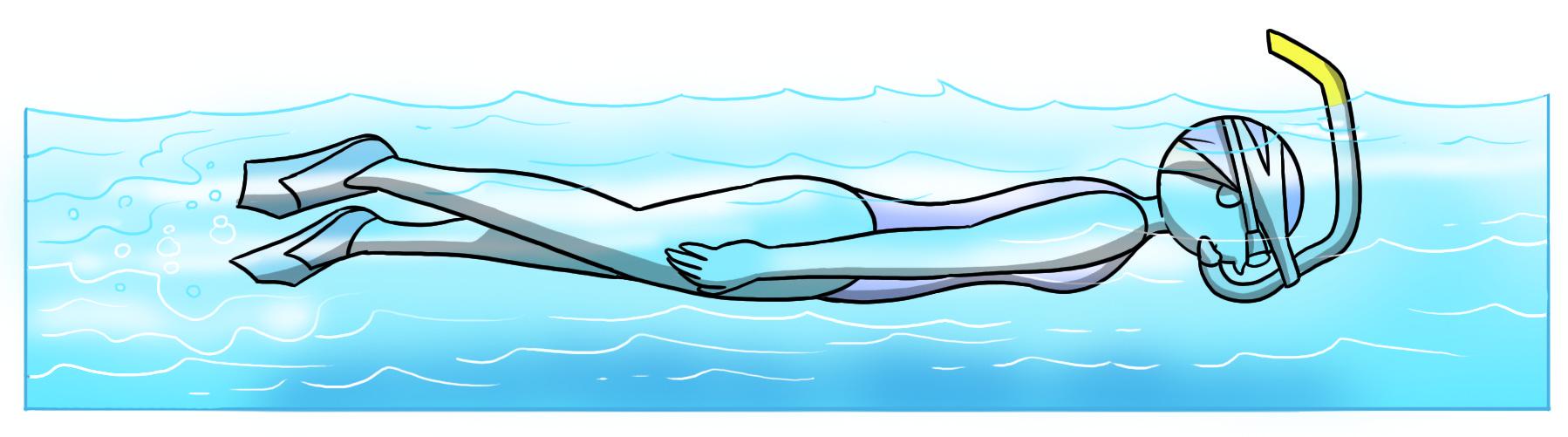 nuoto in assetto con mini pinne