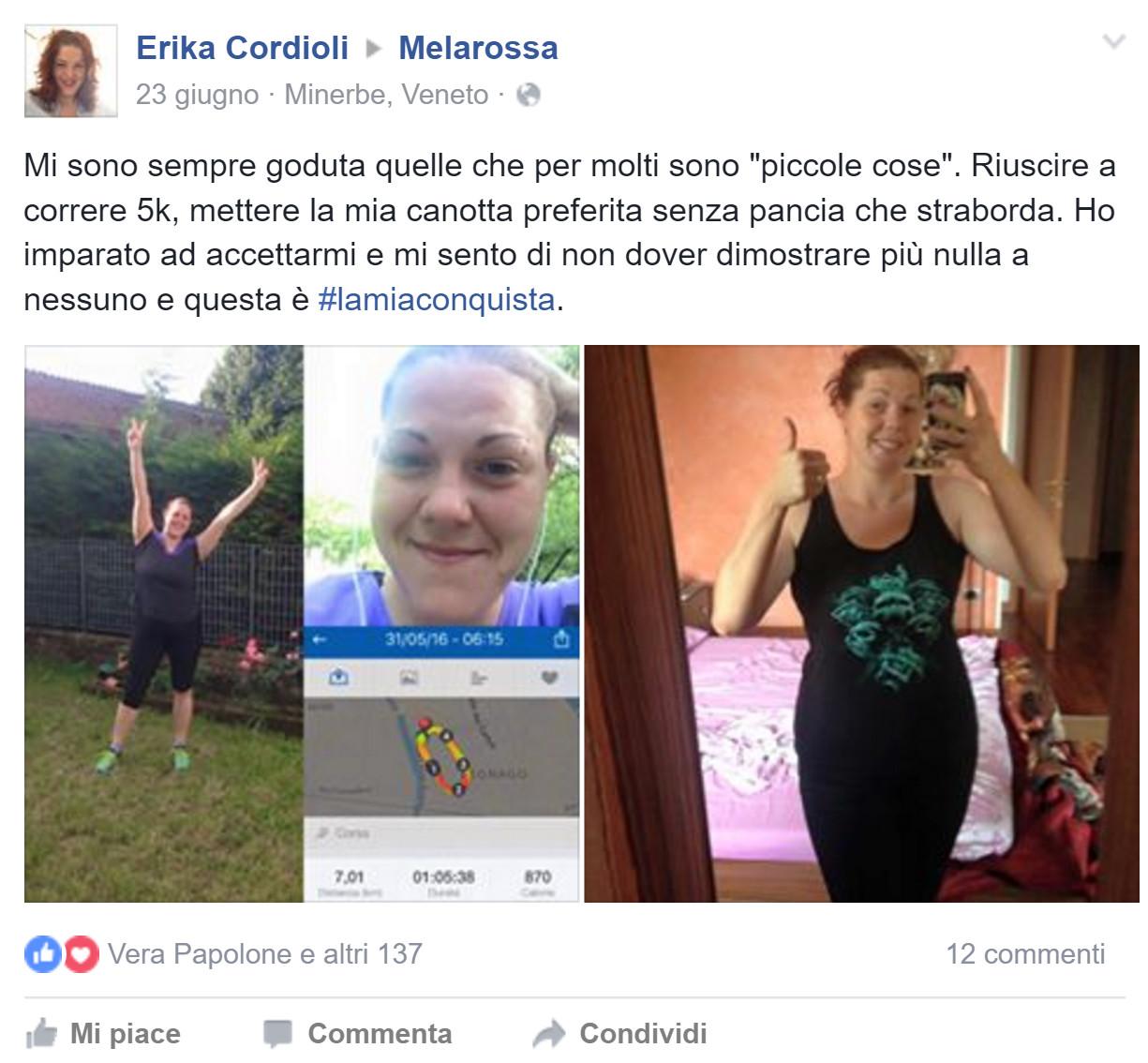 Erika è dimagrita con Melarossa