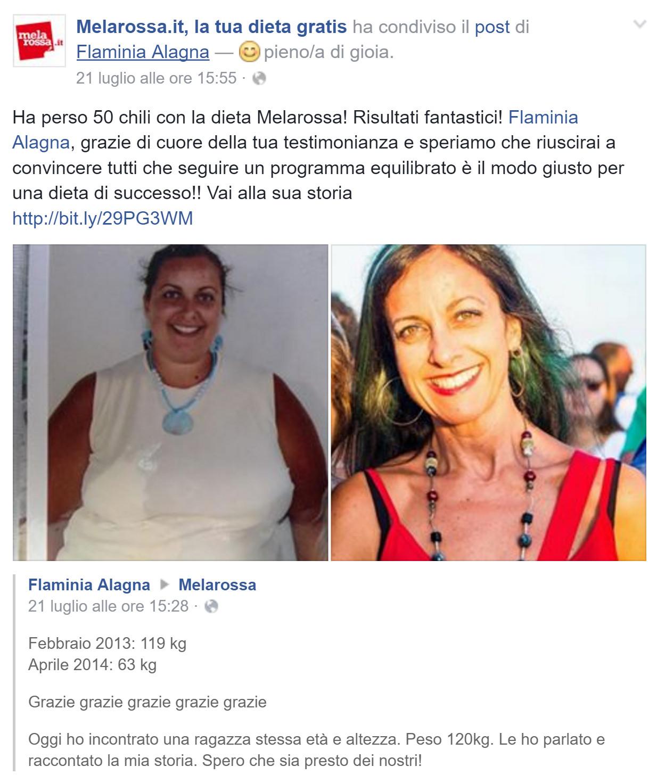 Flaminia ha perso più di 50 kg con Melarossa