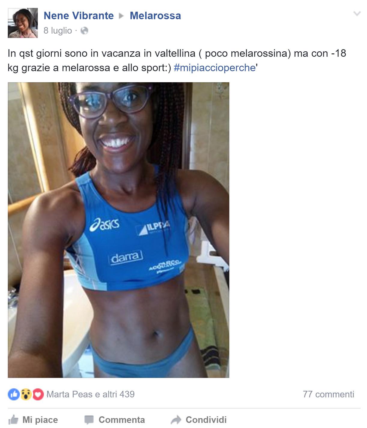 Nene è dimagrita 18 chili con la dieta Melarossa