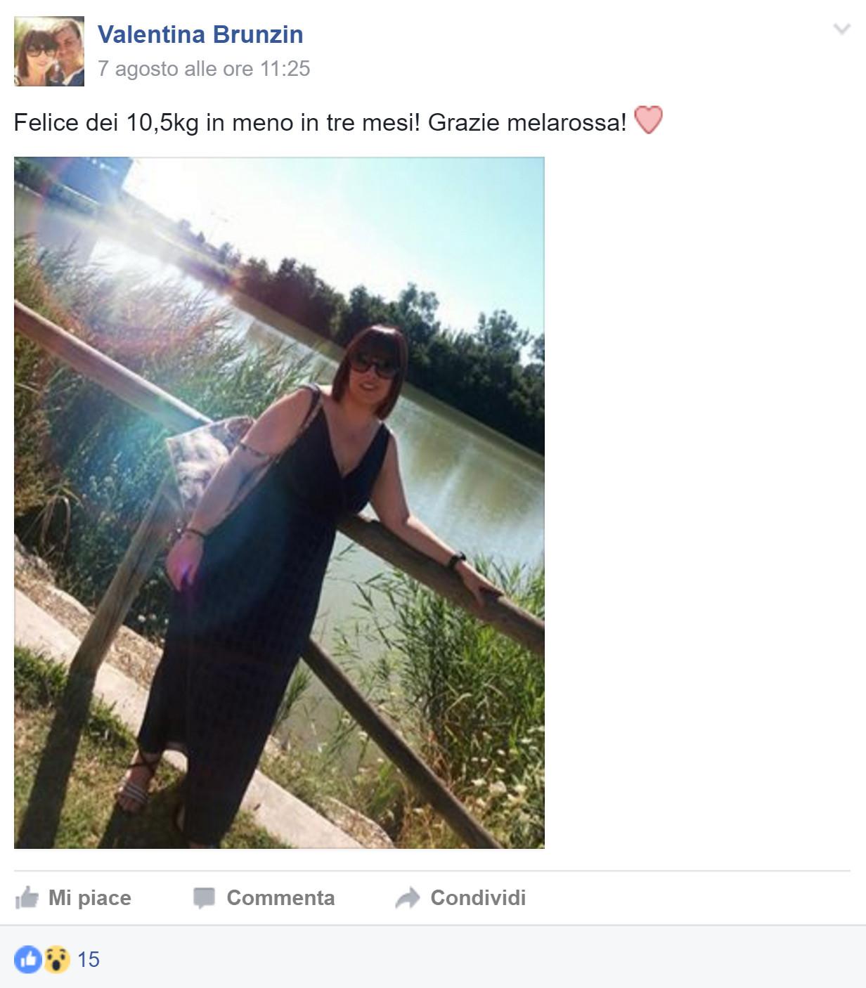 Valentina ha perso 10 chili con Melarossa