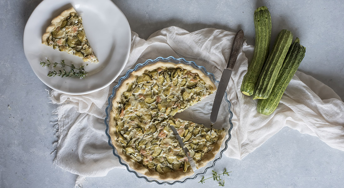 torte salate: quiche di zucchine e salmone