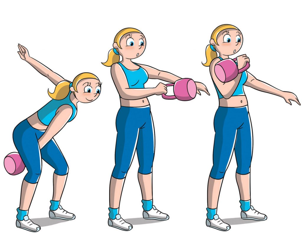 allenamento con kettle bell clean