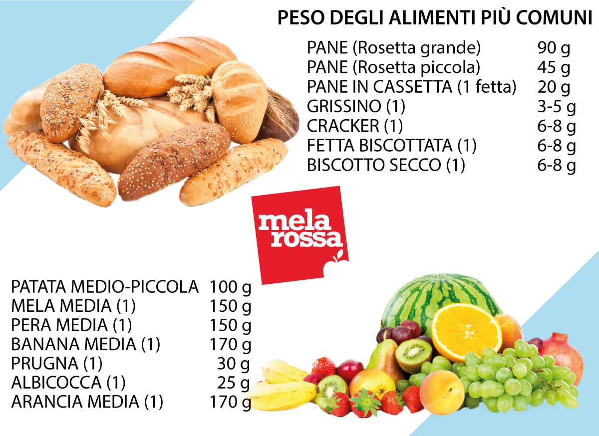 peso alimenti comuni