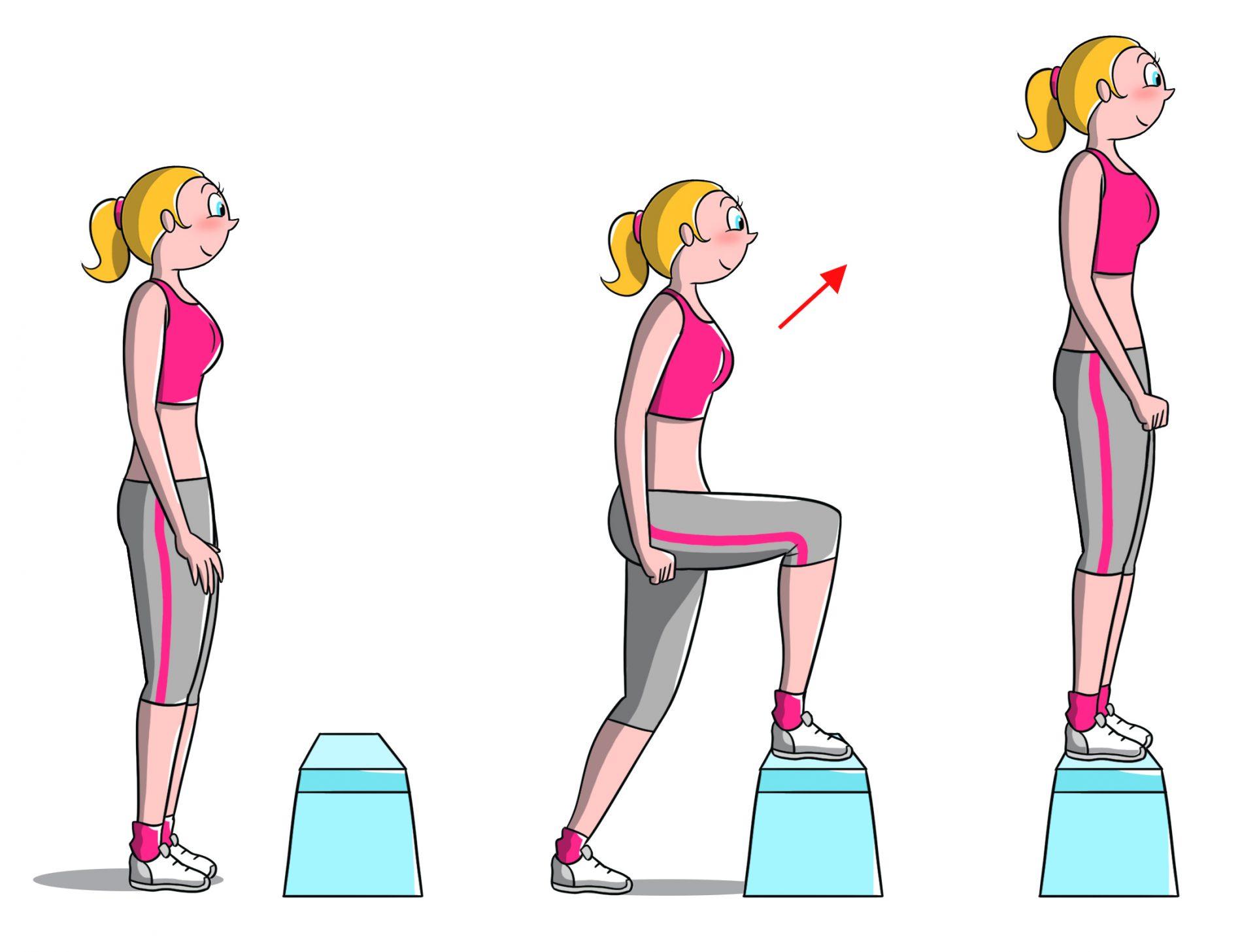 allenamento per fisico a clessidra, step up