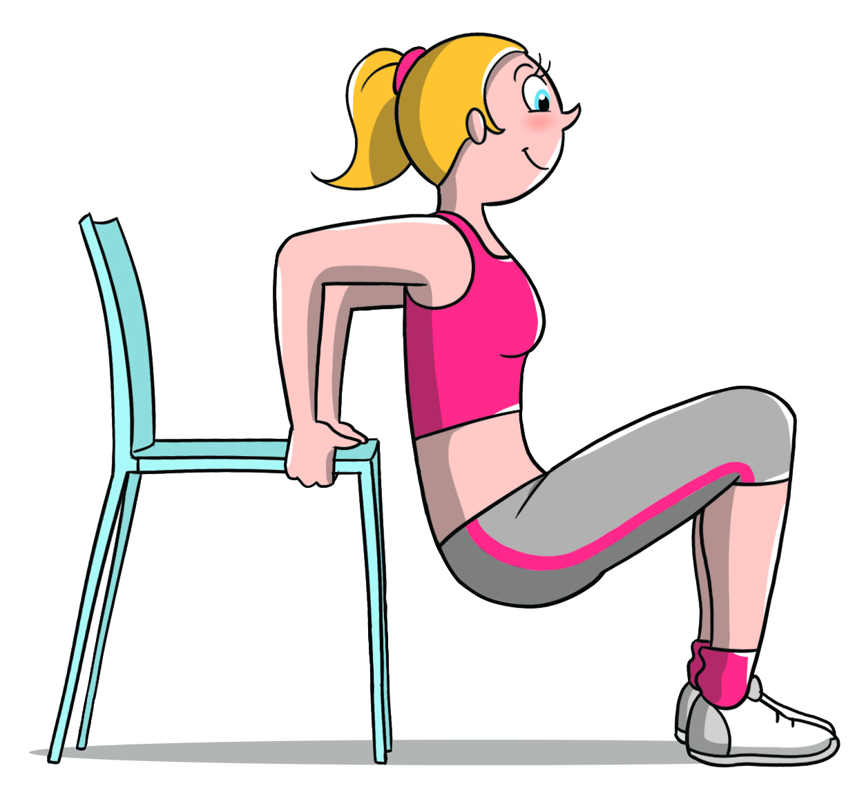allenamento per fisico a clessidra, triceps chiar per le braccia