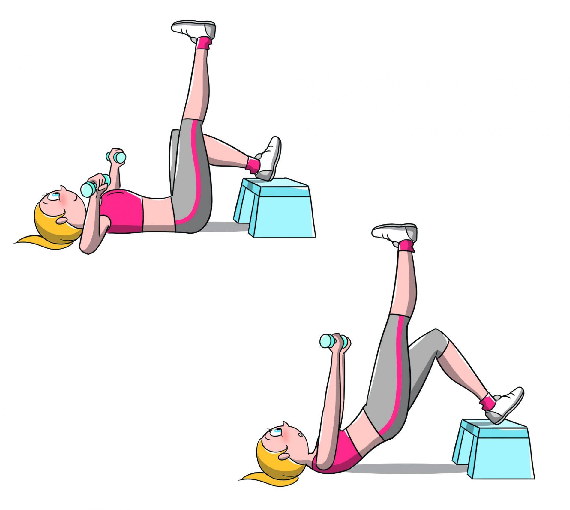 allenamento per fisico a clessidra: esercizio bridge and press