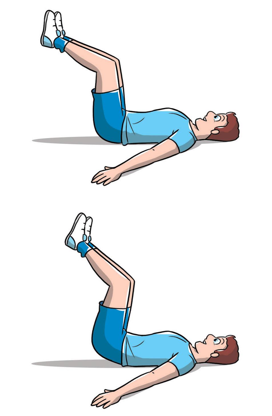 esercizi addominali uomo: crunch inverso