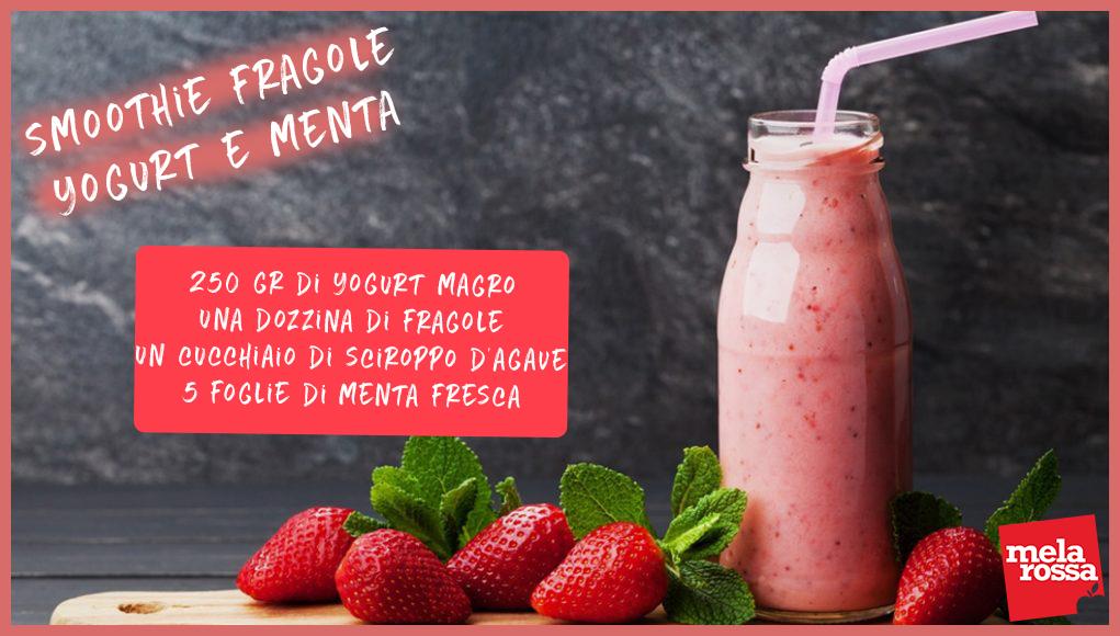 ricetta frullato fragole, yogurt e menta