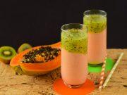smoothie kiwi papaya e pompelmo rosa per fare il pieno di fibre