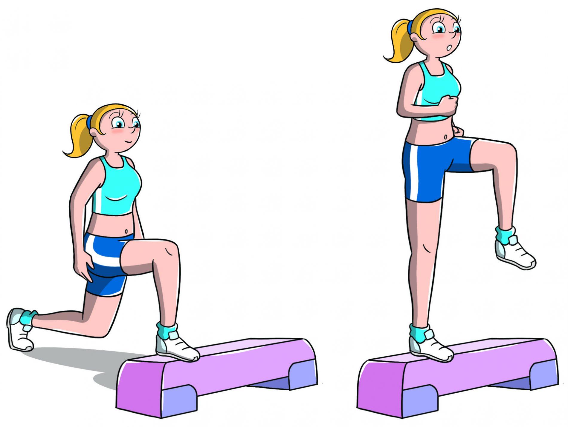 allenamento con lo step affondi